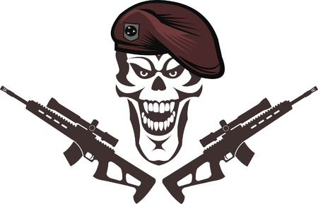 Tattoo Skull and Gun. Vector illustration.