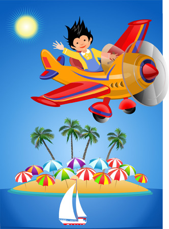 Airplane in Summer colorful flyer illustration. Illustration