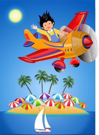 Airplane in Summer colorful flyer illustration. Illustration