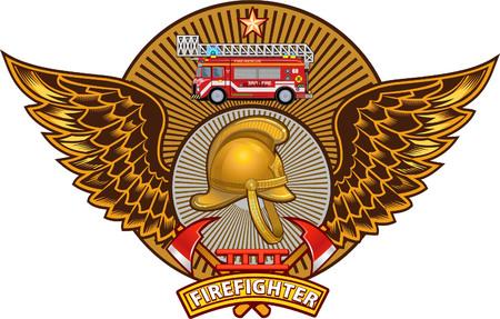 Insignia de bombero Ilustración de vector