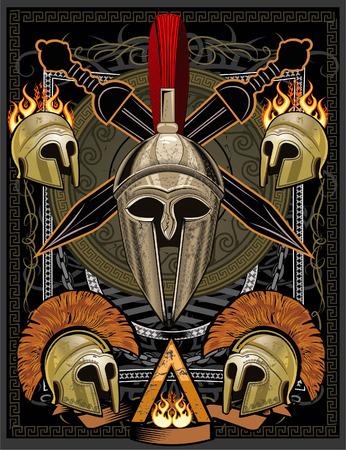 Sparta casco con la espada Ilustración de vector