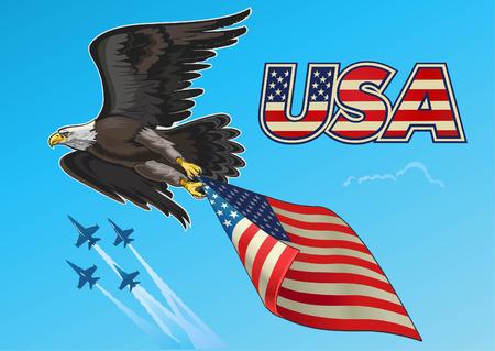 Amerikaanse adelaar met vlaggen van de VS