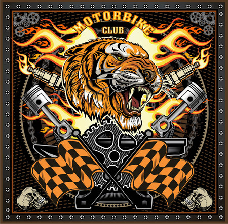 vintage tiger motorcycle label  イラスト・ベクター素材