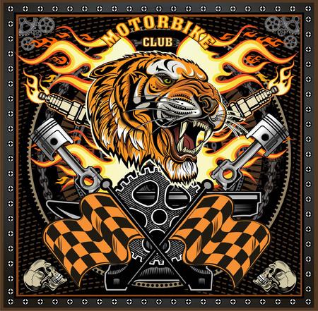 vintage tiger motorcycle label Vettoriali
