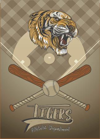 野球のバットとボール運動部のテキストと背景のデザインの虎の顔