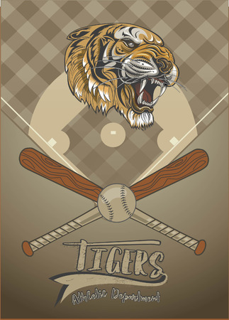 Tiger Face with Baseball bat and Ball on a background design with text Athletic Department