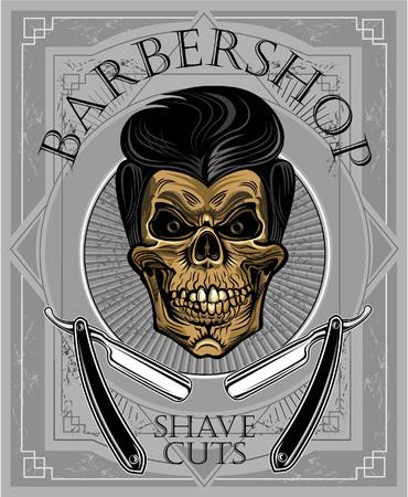 barbershop: Skull barbershop illustration. Illustration