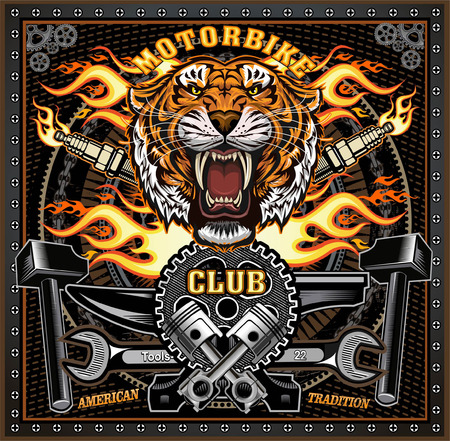 Vintage tiger motorcycle label