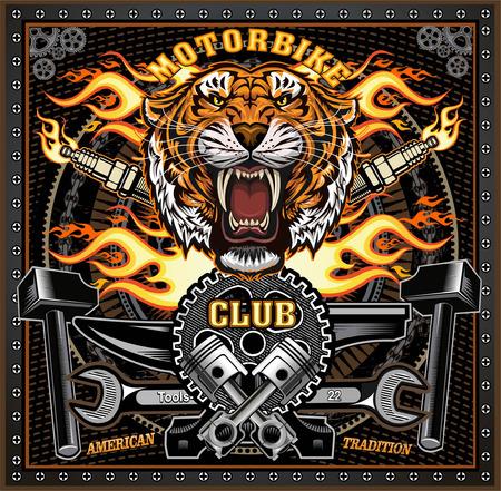 L'étiquette de moto Vintage Tiger