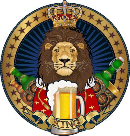 King Lion et bière Banque d'images - 83795496