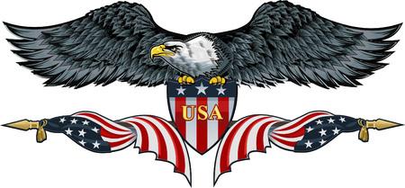 aigle américain avec usa drapeaux