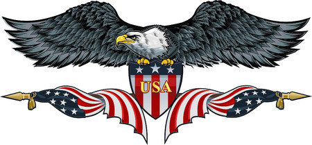 Amerikaanse adelaar met de vlaggen van de VS