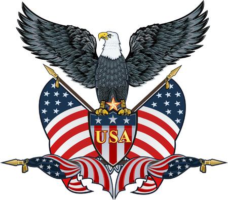Águila americana con banderas de EE.UU. Ilustración de vector
