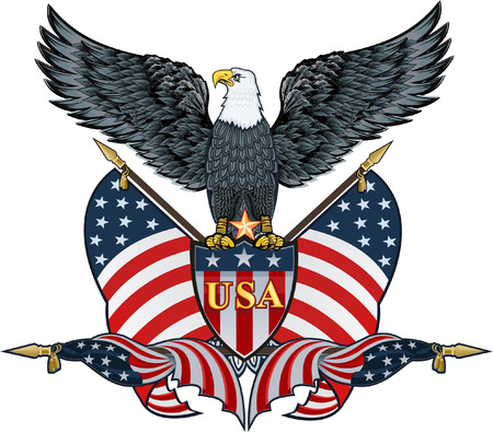 Amerikaanse adelaar met vlaggen van de VS Stockfoto - 84743460