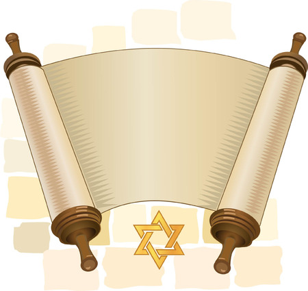 papyrus on a white background. Scroll paper. Cartoon image of the Torah in the unfolded state.