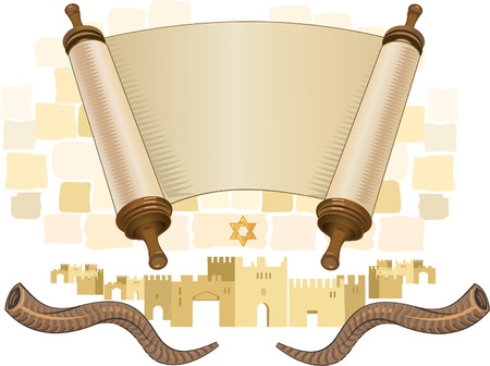 papyrus on a white background. Scroll paper. Torah in the unfolded state.rosh hashanah (jewesh holiday) concept - shofar, torah book Vettoriali