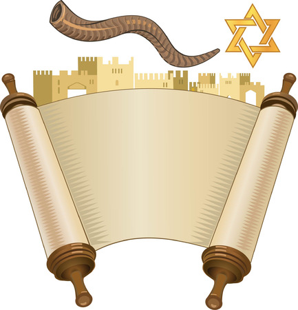 papyrus on a white background. Scroll paper. Torah in the unfolded state. rosh hashanah (jewesh holiday) concept - shofar, torah book
