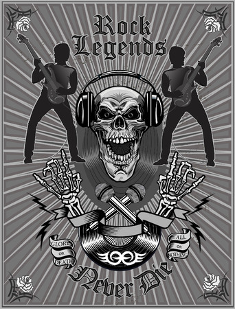 Black and white Skull with headphone and text rock legends