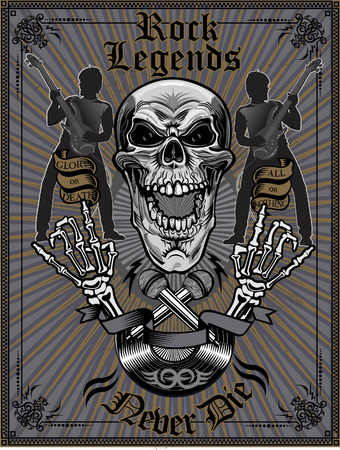 Skull with headphone and text rock legends Illustration