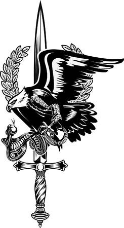 Adelaar en Slang met zwaard Stock Illustratie