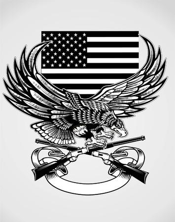Eagle en Snake op de vlag van de VS Geweer