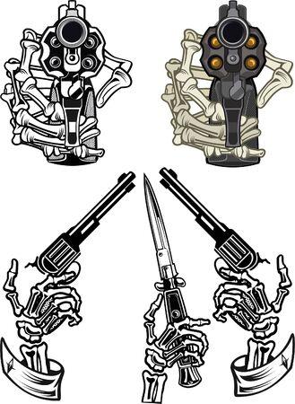 Guns in skeleton hands.
