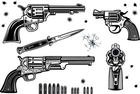 Guns: Revolver collection set of Bullet. Bullet Hole Иллюстрация