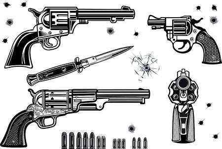 Guns: Revolver collection set of Bullet. Bullet Hole Illustration