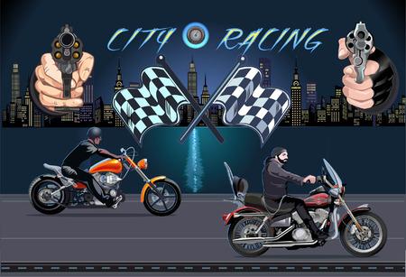 Cite racing. Man on the motorbike