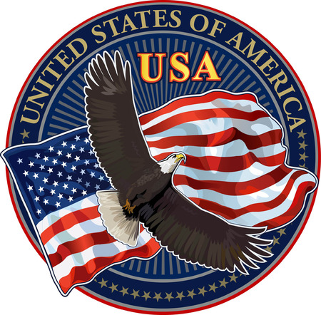 American eagle with USA flag