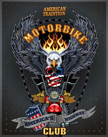 custom car: vintage motorcycle label