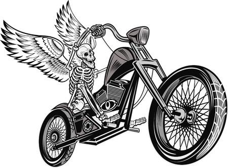 esqueleto en la motocicleta