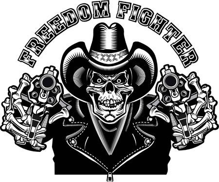 Cowboy Skull and Revolver