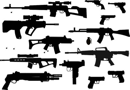 Weapon silhouettes collection - vector 矢量图像