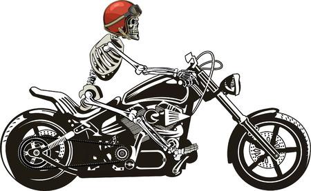 Skeleton on motorcycle vector illustration.