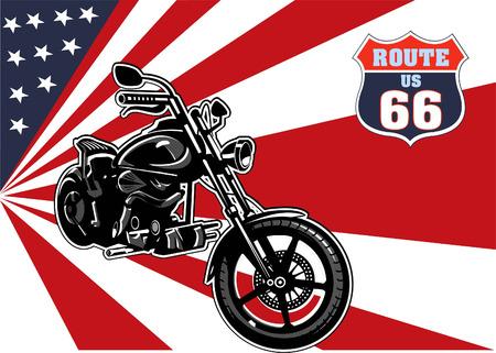 오토바이 및 미국 국기 일러스트