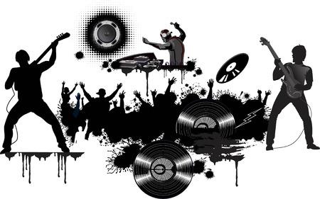 Rock legends and dj Illustration