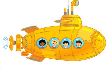 Submarino con niños Ilustración de vector