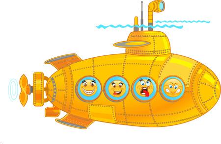 Submarine with Emoticon Ilustrace