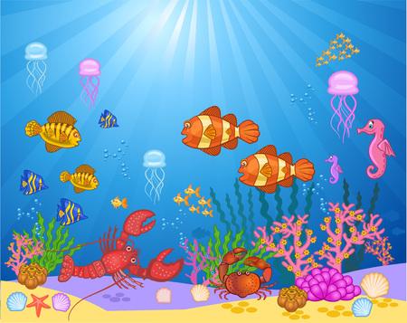 海のイラスト。海の中の魚。海の美しさ