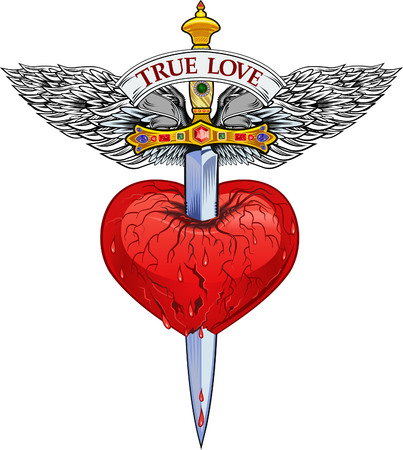 Heart with Wing and Dagger Vector illustration. Illustration