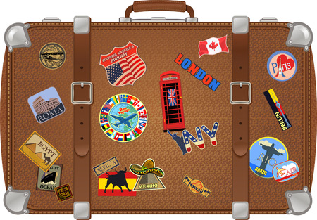 Traveler suitcase with stickers. Illustration