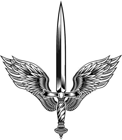 翼を持つタトゥー剣