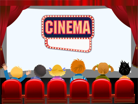 Kids Cinema hall Vector illustration.