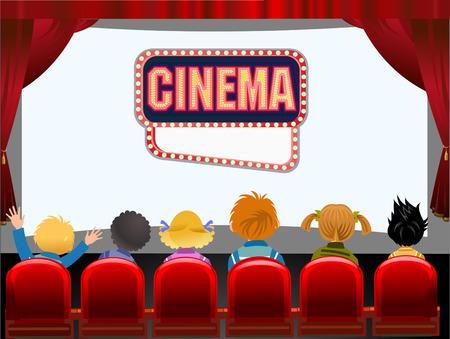 Kids Cinema hall Vector illustration.