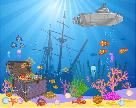 Treasure chest in underwater background. Illustration