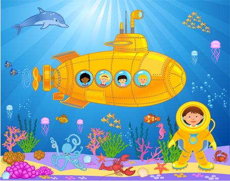 Submarine with kids vector illustration Vettoriali