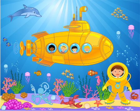 Submarine with kids vector illustration Çizim