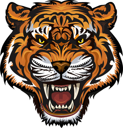 Tattoo toothed tiger vector illustration.