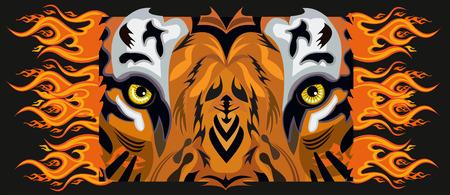 Tiger eye tattoo Vector illustration on dark background.